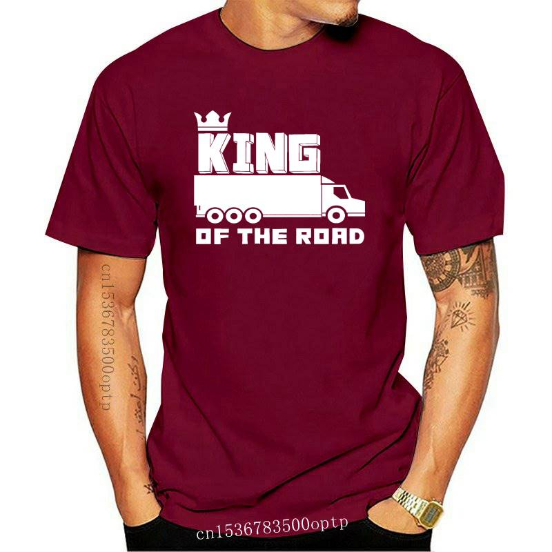 New KING OF THE ROAD Men's Cotton T-Shirt HGV Lorry Truck Driver Present Gift LGV
