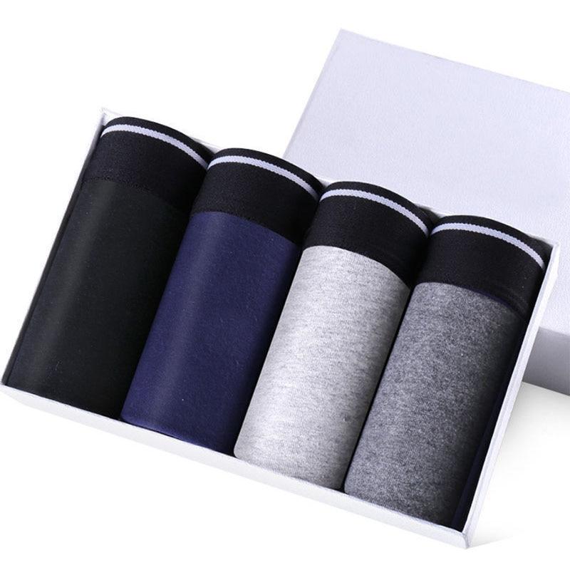 4pcs Male Cotton Underwear Men's Boxers Panties Breathable Man Boxer Solid Underpants Comfortable Sh