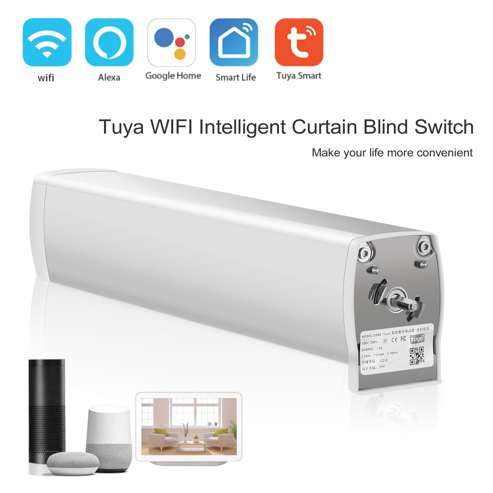 Tuya WIFI ذكي محرك الستائر الترا هادئة الكهربائية اللاسلكية التحكم عن بعد أدوات التحكم الصوتي ل أليكسا جوجل المنزل