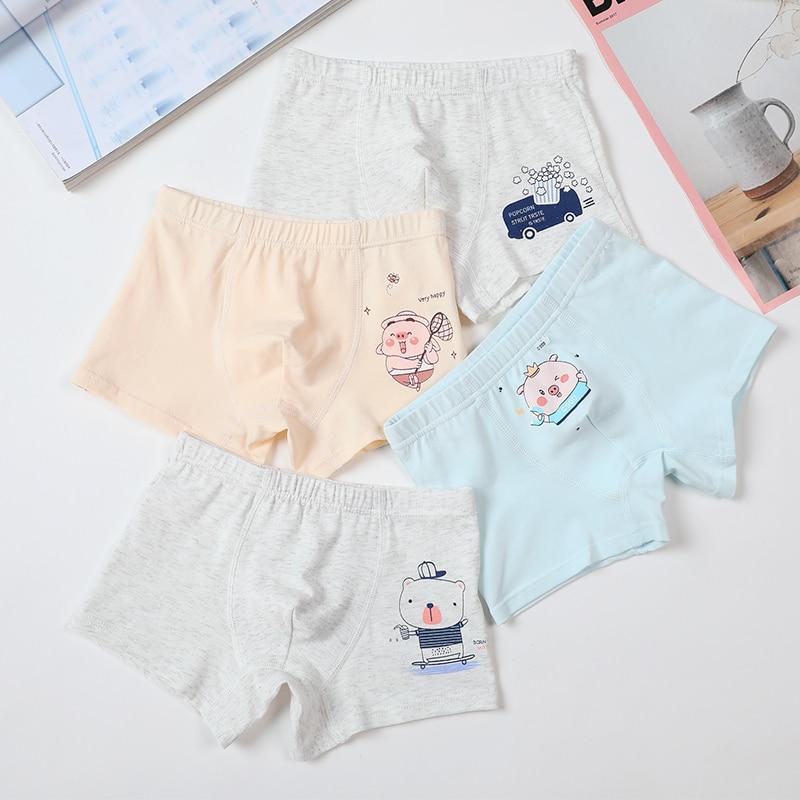 Ropa interior infantil de alta calidad de 4 Uds. Para niños, pantalones cortos con dibujos de cerdos, calzoncillos de algodón suave para niños, bragas para adolescentes, calzoncillos