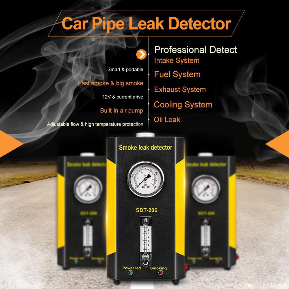 1 juego SDT-206 Detector de fugas de humo mejorado para coche, máquinas de medidor de humo de escape, localizador de fugas, diagnóstico automotriz de sistemas de tuberías