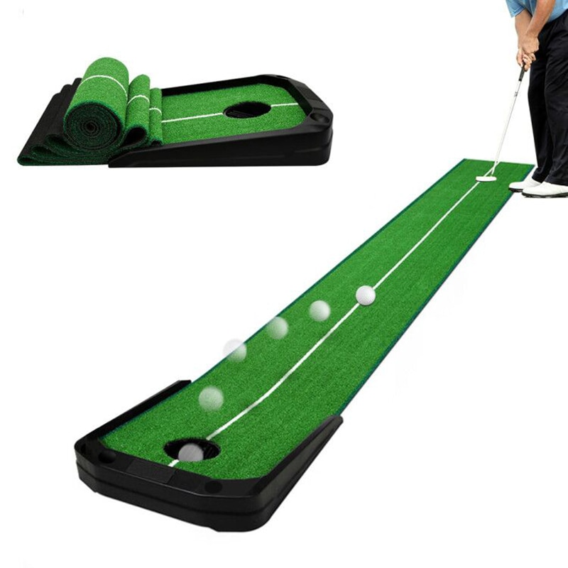 9.84*1.24ft Golf Putting Green-Automatic Ball Return Golf Putting Mat Anti-Skid Golf Practice Indoor or Outdoor Use Training Aid