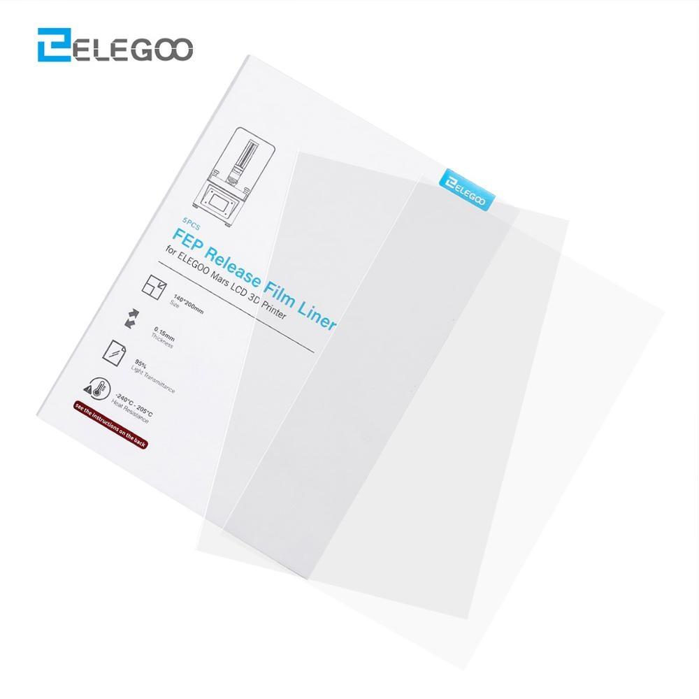 ELEGOO 5PCs FEP Release Films Set 140200 MM 0.127mm Thickness for Mars MARS PRO SLA LCD 3D Printer 3D Printer Parts Filament