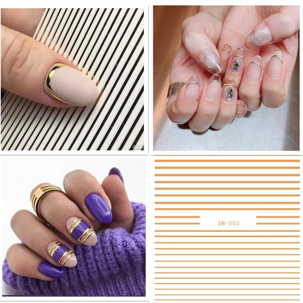 Новинка, Hanyi SN- 003, дизайн с прямой линией, 3D наклейка для ногтей, наклейка, штамповка, задняя часть, инструменты для украшения ногтей своими ру...