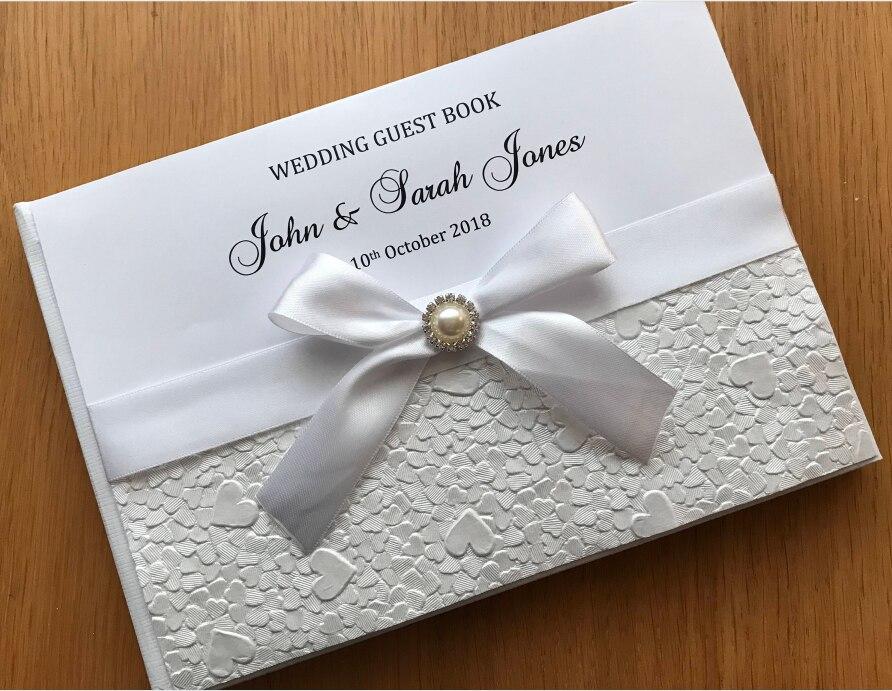 Personalizado nacarado elegante libro de visitas de boda personalizado elegante bowknot cumpleaños diario nupcial ducha color elegir satén