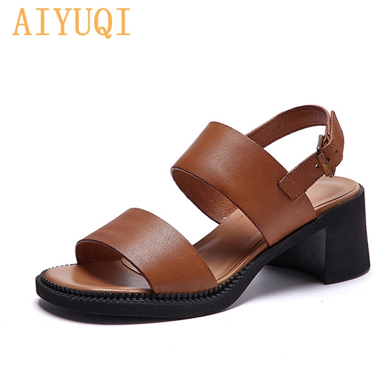 AIYUQI Sandals Women Natural Cowhide Summer 2021 New Genuine Leather Mid-heel Women Shoes Retro Fash