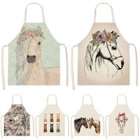1pcs horse kitchen sleeveless aprons for women cotton linen bibs household cleaning pinafore home cooking apron 5365cm wql0176