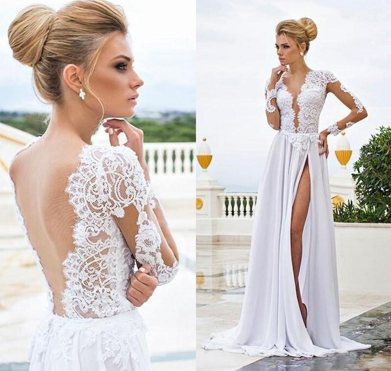 Пикантные Пляжные Свадебные платья 2021 из прозрачного кружева аппликация Одежда с длинным рукавом v-образным вырезом с низким вырезом на спи...