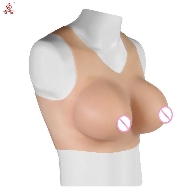 بدلة رياضية للرجال من Jiuai بأشكال واقعية من السيليكون للثدي على شكل حرف C وياقة على شكل حرف V