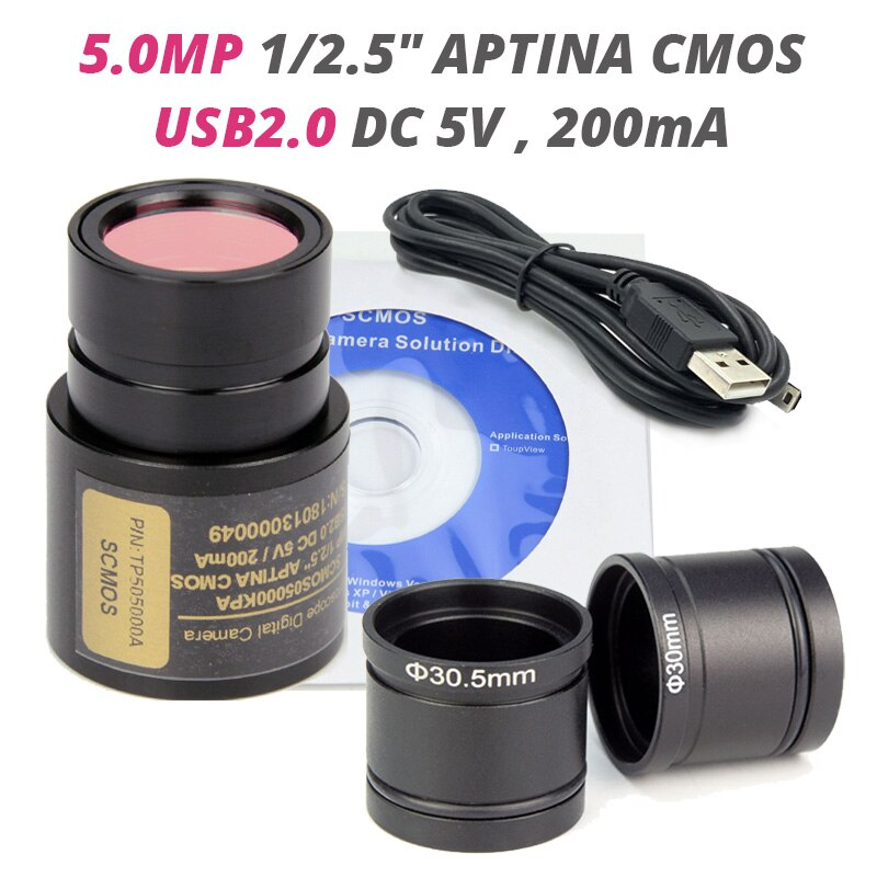 5MP الرقمية العدسة المجهر كاميرا USB 2.0 ستيريو البيولوجية المجهر الصناعية فيديو كاميرا مع حلقة Adapter30 30.5 مللي متر