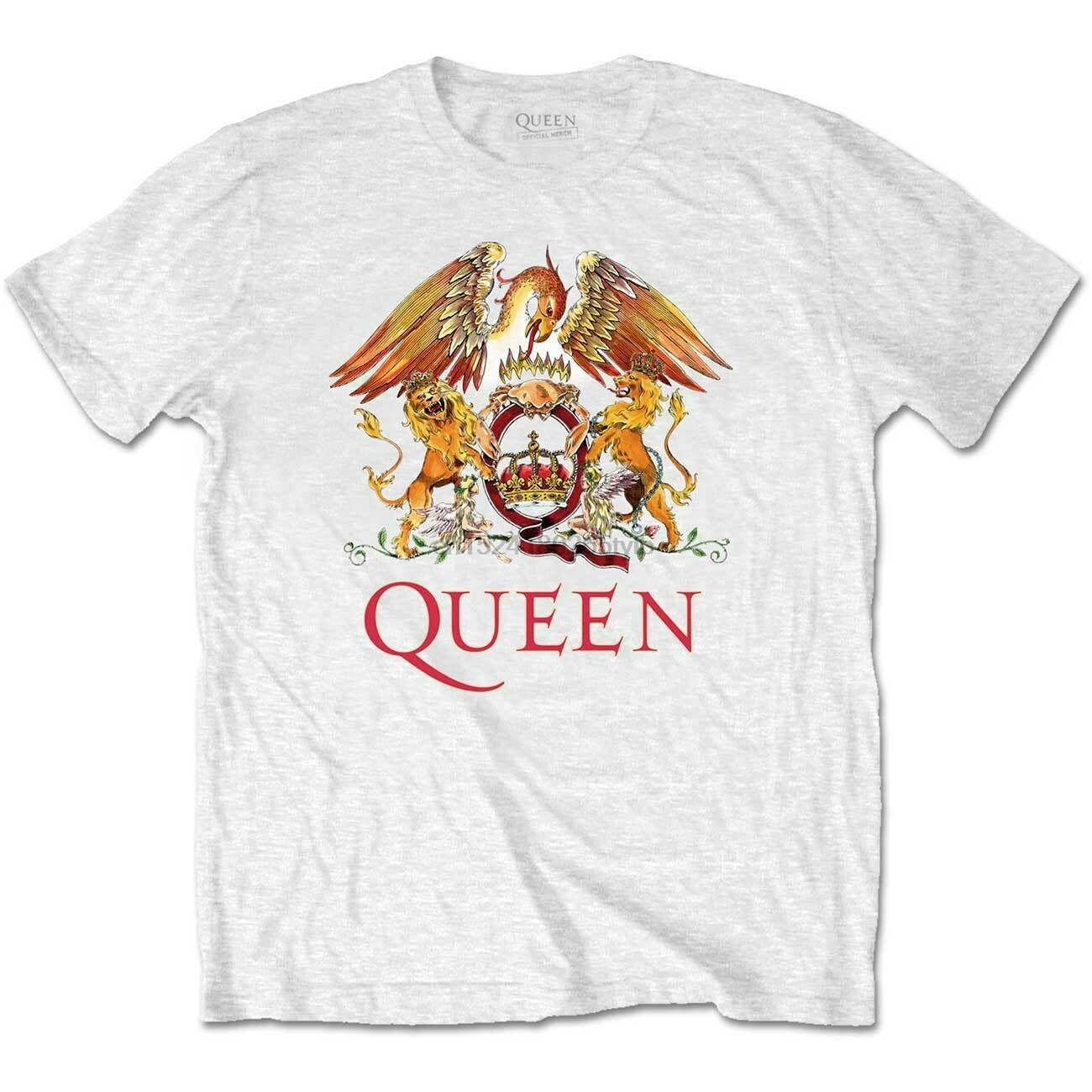 Crest white queen freddie mercury brian may official t-shirt men unisex