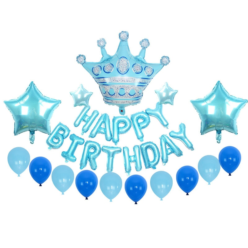 New Blue Color Pink Crown Happy Birthday Letter Package Balloon Boy Girl Birthday Party Decoration