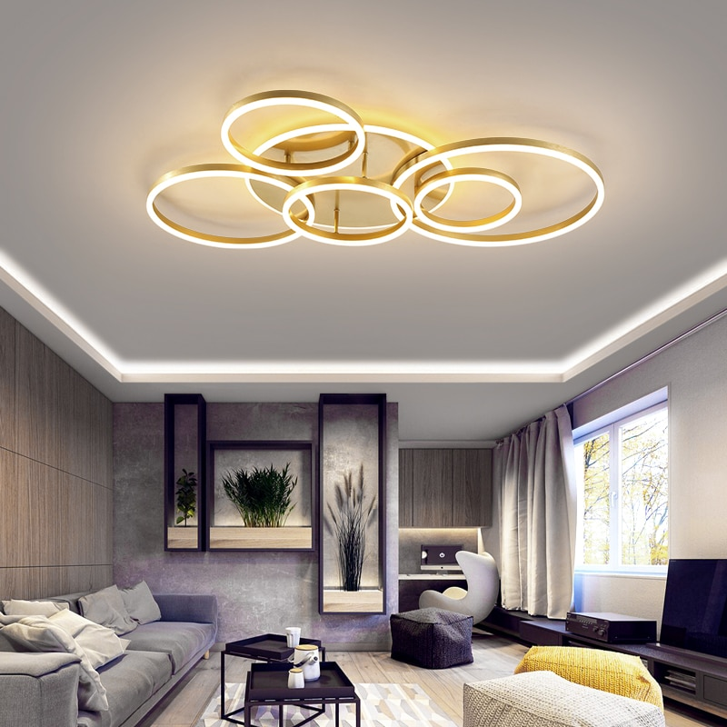 جهاز تحكم عن بعد 2/3/5/6 دائرة خواتم الحديثة led الثريا لغرفة المعيشة غرفة نوم غرفة الدراسة أبيض/بني اللون الثريا