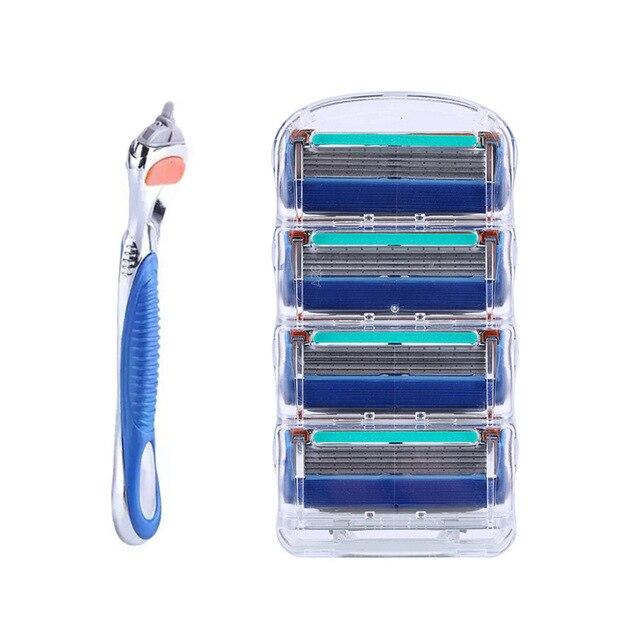 DROPSHIP 1 mango + 4 Uds cuchillas de afeitar para hombres 5 capas cuidado facial afeitadora casetes cuchillas de afeitar