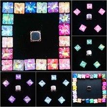 Griffe en métal argenté mignon 50 pièces/p gelée bonbons et AB couleurs cristal verre, 8mm forme carrée coudre des strass, robe de mariage, bricolage