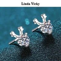 linda vicky women jewelry gift vvs moissanite rhodium plated 925 silver earrings fashion precious jewel 100real moissanite stud