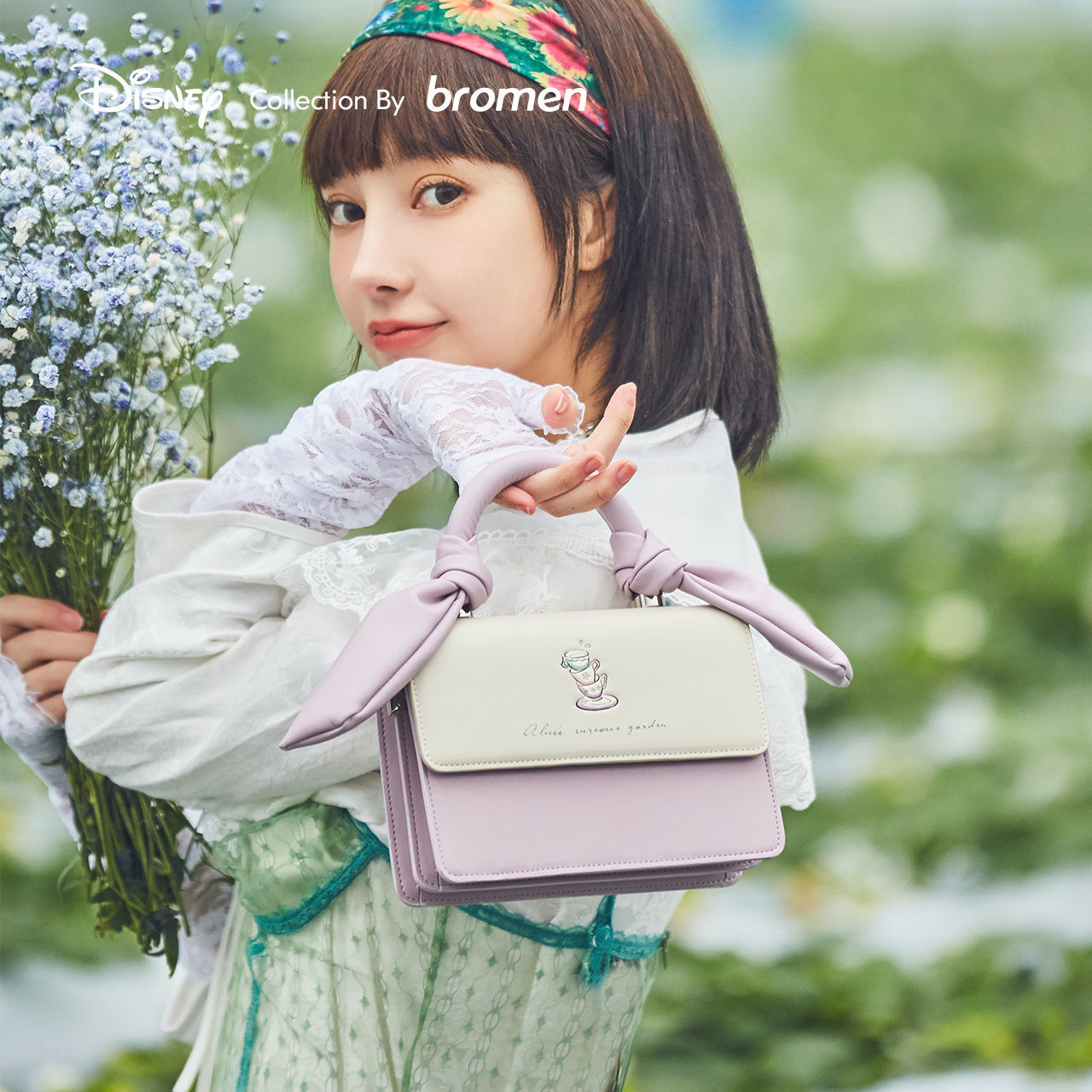 [flowers and Alice] Disneys lovely fashionable Cherry Blossom series 2021 new trend foreign style sweet messenger bag