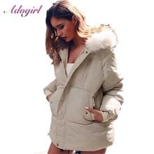 Adógirl abajo Abrigos Mujer invierno Casual cremallera arriba de manga larga de piel con capucha luz abajo chaquetas abrigo femenino prendas de vestir abrigo grueso Parkas
