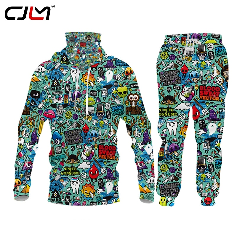 CJLM جديد ملابس رياضية رجالية عادية مجموعات موضة ثلاثية الأبعاد الأخضر أنيمي جمع Sweatsuit مقنعين البلوز Sweatpants ركض السراويل دعوى