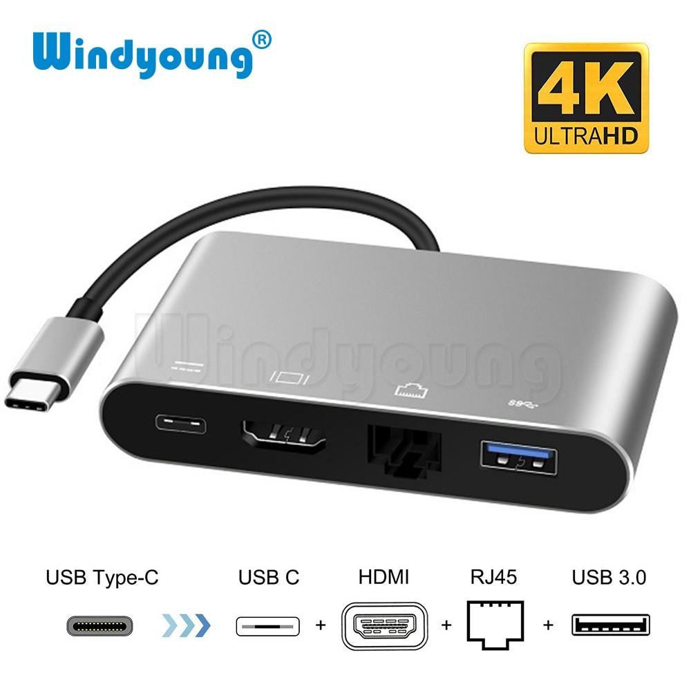 USB Typ-C Thunderbolt 3 zu HDMI 4K Ethernet Gigabit Adapter USB-C USB 3.0 Hub Konverter Typ-C PD OTG Hub Adapter für Macbook