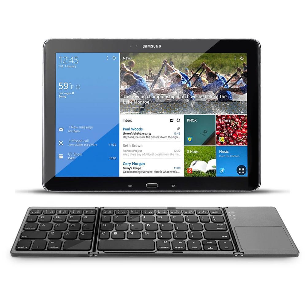 Teclado táctil tri-fold con pantalla táctil BT Bluetooth para IOS/android/Windows Tablet Laptop para Samsung Galaxy Tab 10,1 SM-T536