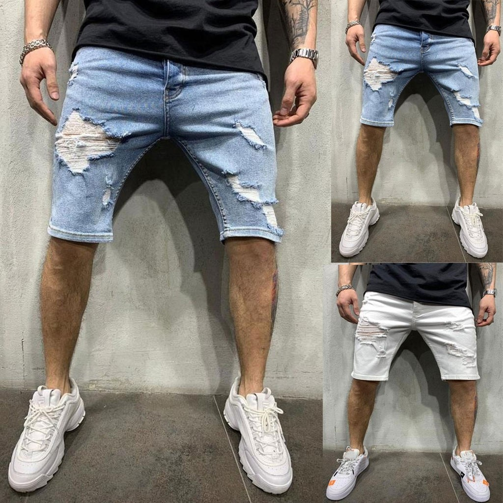 Pantalones cortos elásticos para hombre de Vaqueros cortos ajustados informal de moda......