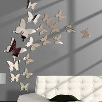 Горячая Распродажа, 12 шт., 3D зеркальные наклейки на стену в виде бабочки, наклейка на стену, съемное украшение для свадебной вечеринки, украш...