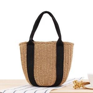 Fashion High Capacity Hand Held Bucket Woven Shoulder Bag Black Ribbon Summer Vacation Photo Beach Two Straps Handbag