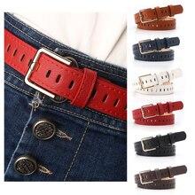 Cinturón de piel sintética para mujer, cinturón con hebilla de Pin ahuecado, liso, Retro, para Vestido vaquero