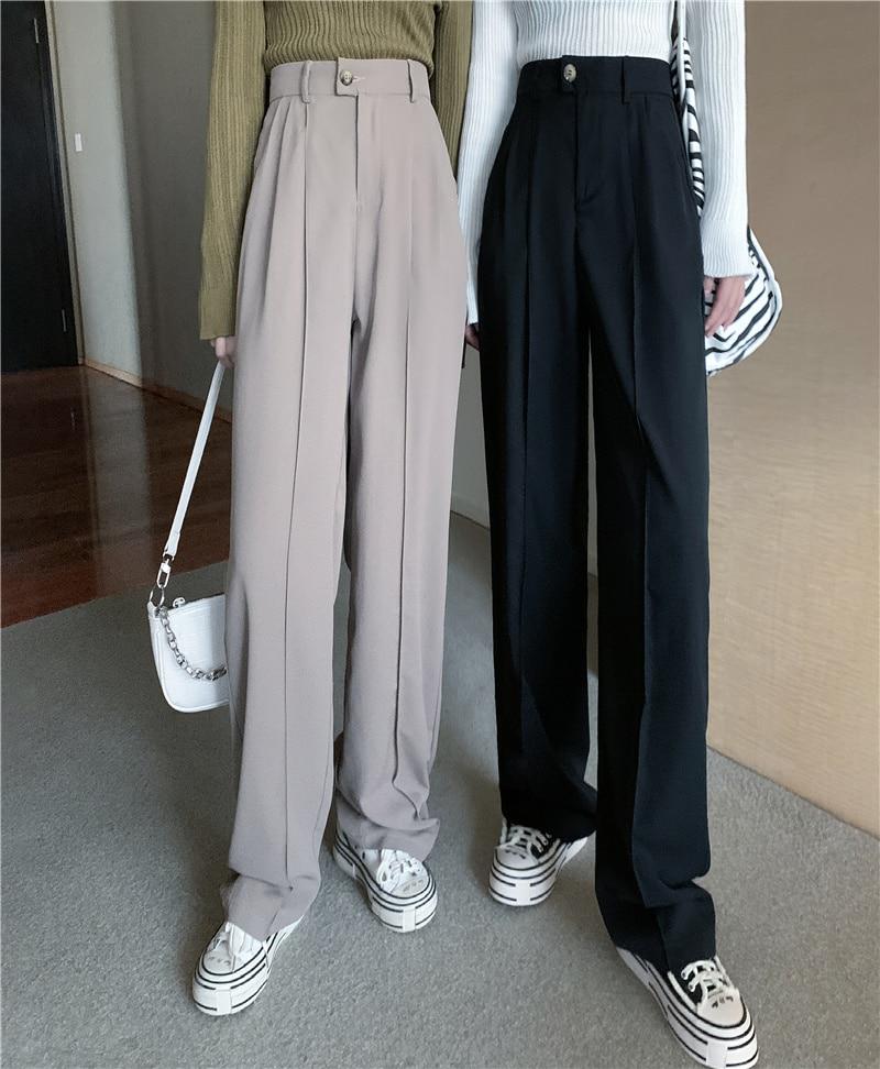 Women's Pants 2021 New Korean Style Loose Casual Wide-Leg Pants Versatile Student High Waist Droopin