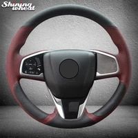 hand stitched black chocolate leather car steering wheel cover for honda civic civic 10 2016