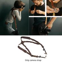 Sangle dappareil photo cuir Double bandoulière DSLR sangle Nikon Sony noir pour Canon marron Fuji harnais Samsung Pentax appareil photo M2K7