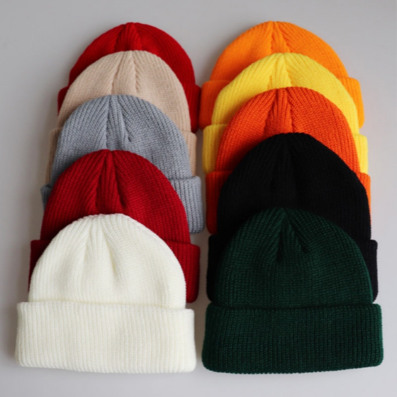 En blanco espesar cálido de punto de propietario sombrero de Color sólido de melón de invierno sombrero de las mujeres de esquí sombrero al aire libre de nieve escutelaria sombrero