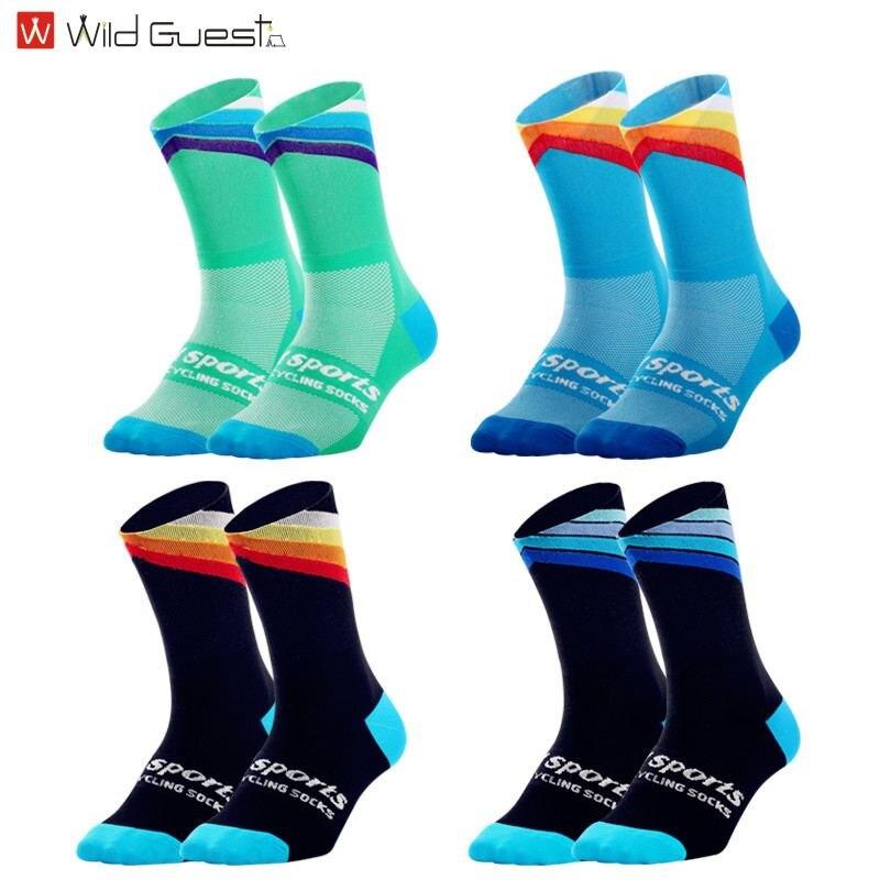 Calcetines de alta calidad, calcetines de compresión para ciclismo, calcetines deportivos para bicicleta, calcetines azules para fitness