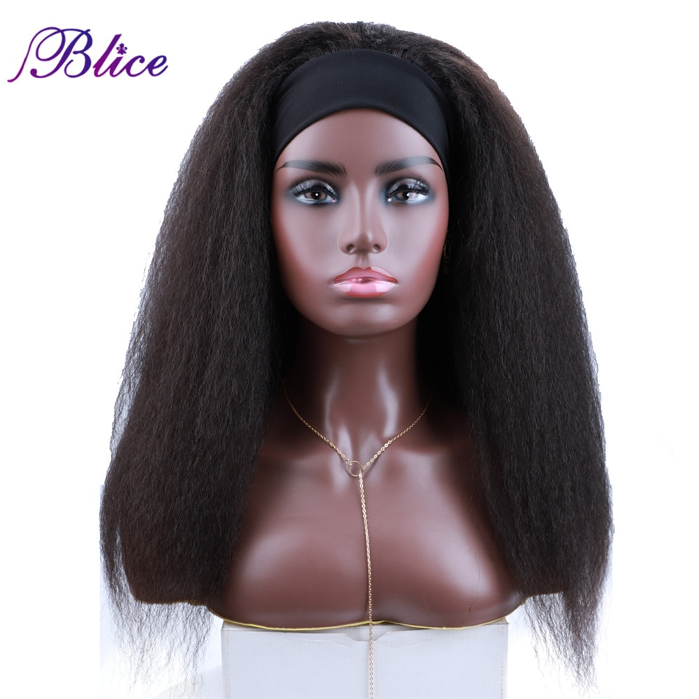 Blice Long Headband Wig Glueless Synthetic Hair Extensions Kinky Straight Elastic Scarf Wigs For African American Women
