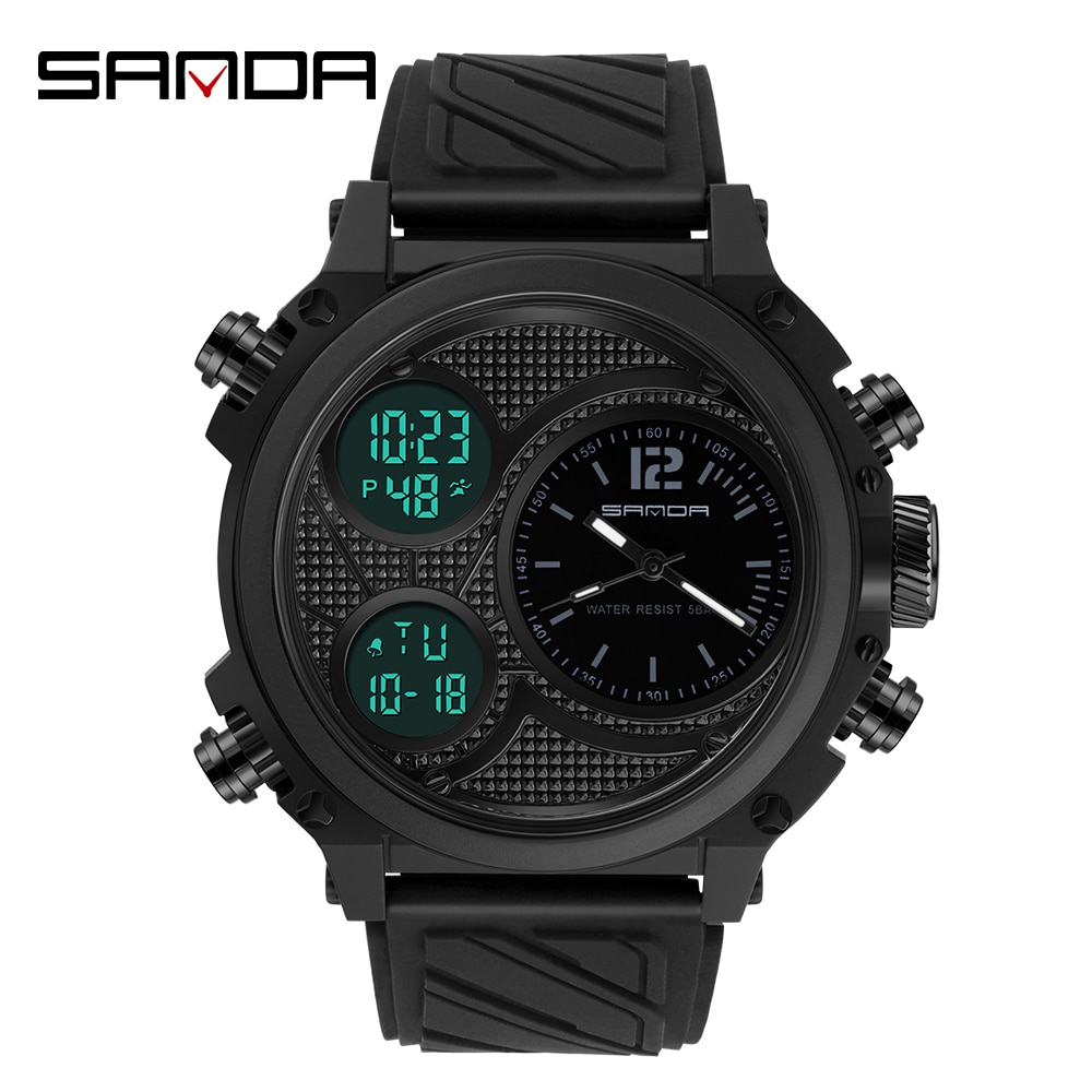 SANDA Men's Watches Mens Quartz Casual Waterproof Wristwatch Sports Man Multi-Time Zone Military LED Digital Timing Male Watch