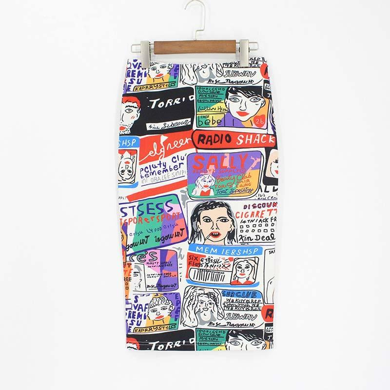 Skirts Women Pencil Print Cartoon High Waist Slim Womens Skirts 3d Fashion 2020 Midi Skirt Women Knee-Length Jupe Femme Skirts