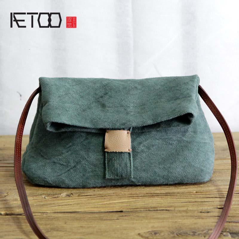 AETOO الفن القطن الكتان حقيبة صغيرة واحدة ضوء مصغرة المغلف الإناث الفن القماش قماش بسيط حقيبة يد