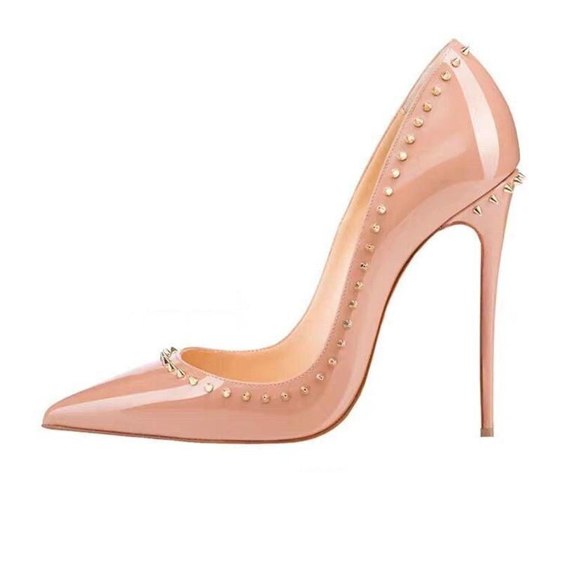 أحمر أسفل أحذية موضة المسامير المرأة مثير مضخات الصيف برشام الخناجر مساء اللباس الكعوب جلد طبيعي الزفاف مضخات الحفلات