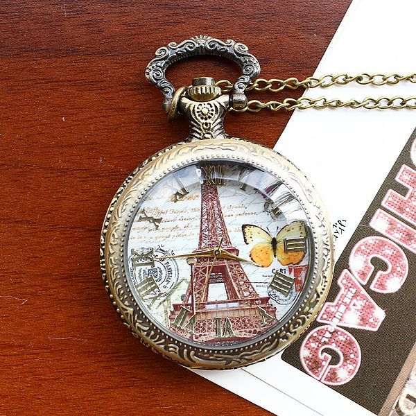 2020Retro Style Men and Women Pocket Watch Bronze Pocket Watch Antique Case Necklace Pocket Watch Fashion Butterfly Eiffel Tower