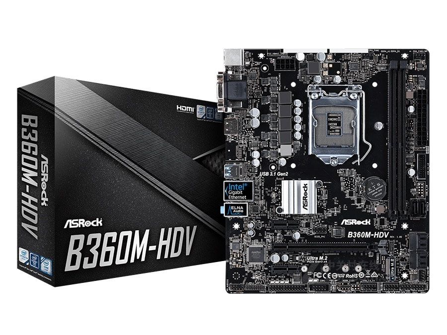 جديد ASRock B360M-HDV سطح المكتب اللوحة LGA 1151 DDR4 32 جيجابايت USB2.0 USB3.1 B360 سطح المكتب مجلس مبيعات الكمبيوتر