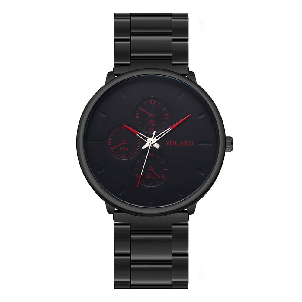 YOLAKO reloj de pulsera para hombre 2020, reloj de pulsera para hombre de estilo Simple, malla correa de reloj de aleación, Simple reloj informal de tres ojos falsos