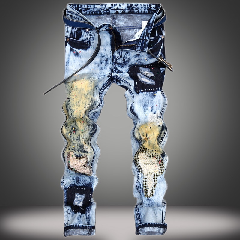 Мужские зауженные джинсы, Синие рваные прямые брюки в стиле ретро