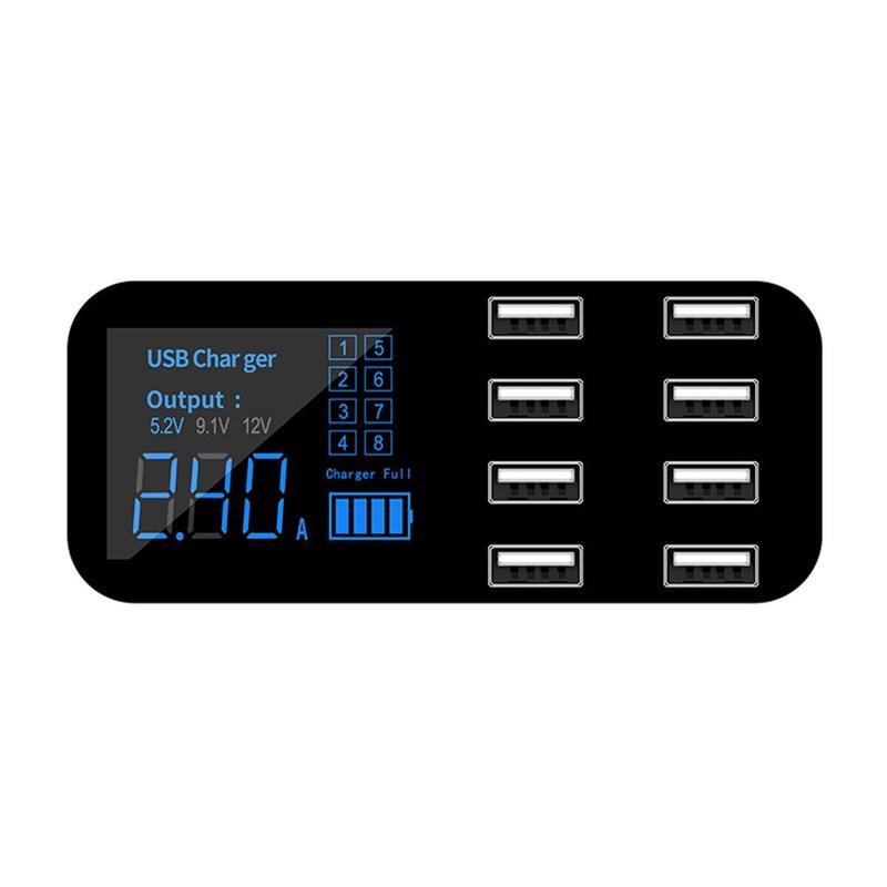 8 портов USB Автомобильное зарядное устройство концентратор QC 3,0 быстрое зарядное устройство с ЖК-дисплеем Напряжение несколько USB3.0 зарядная док-станция для мобильного телефона