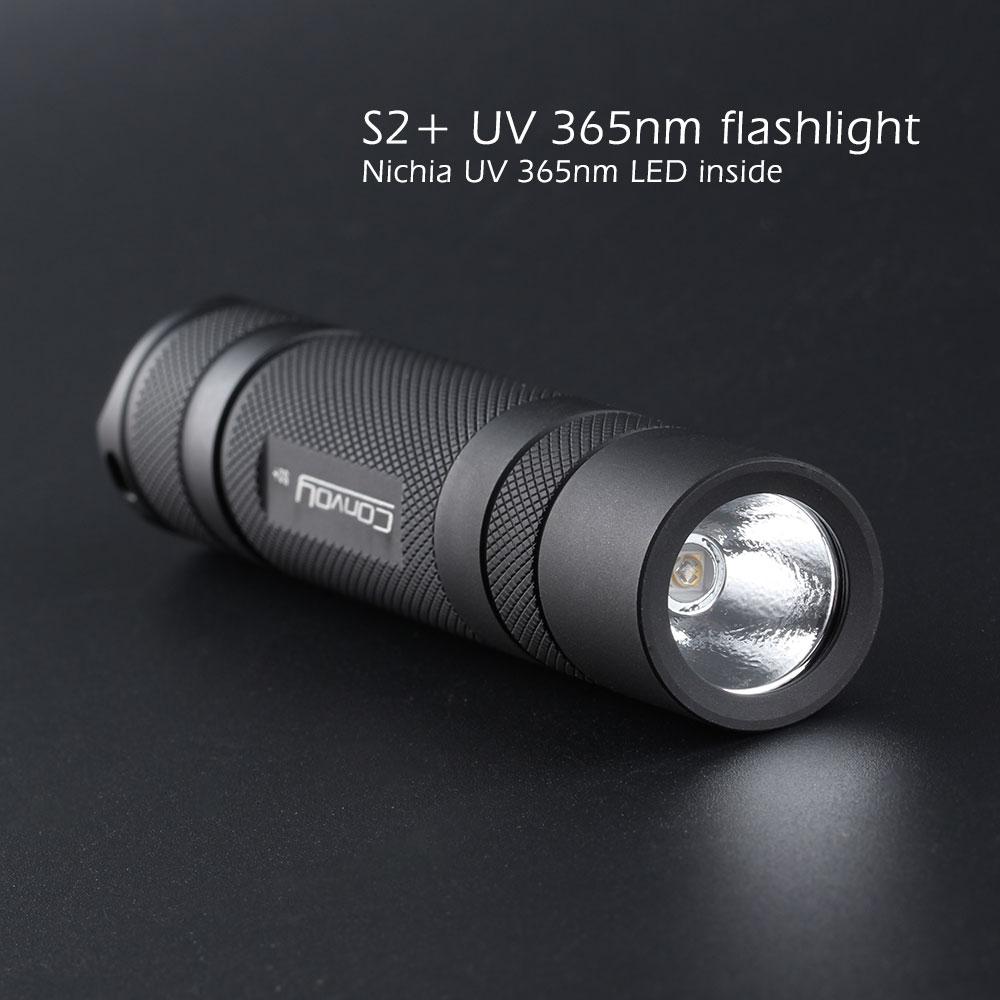 Convoy S2+ UV 365nm led flashlight ,with nichia LED in side ,Fluorescent agent detection,UVA 18650 Ultraviolet flashlight