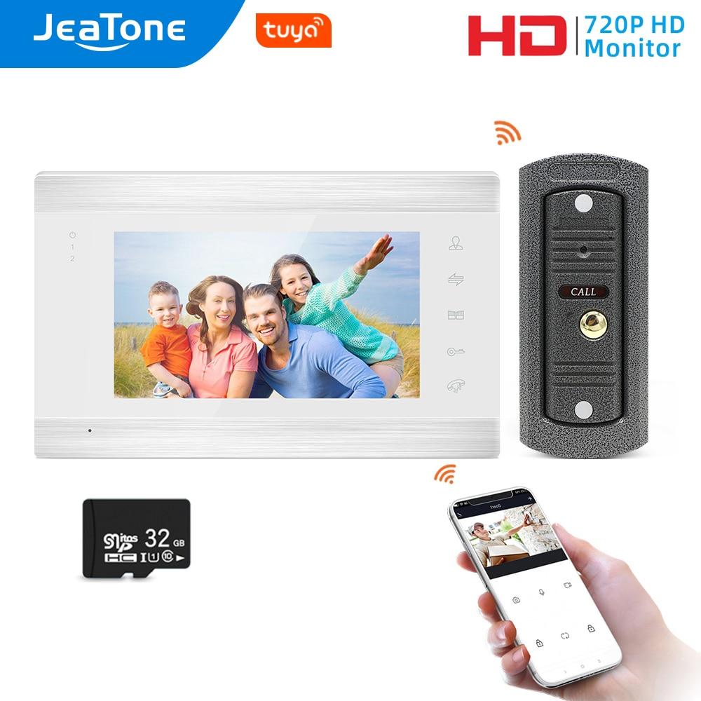 Jeatone WiFi Tuya 7White Video Tür Sprechanlage mit 720P/AHD Verdrahtete Türklingel Kamera Remote Entsperren Bewegung erkennung