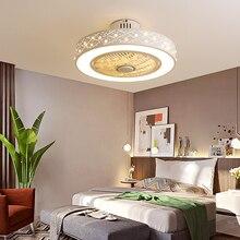 Ventilateur de plafond blanc moderne avec lumière LED éclairage à télécommande décoratif à la maison pour lampe de ventilateur de chambre à coucher AC220 luminaires dintérieur