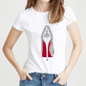 high heels shoes print vogue t shirt femme funny t shirt women 90s hip hop punk shirt