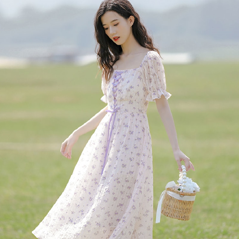 Elegant Sweet Midi Dress Female Evening Party 2021 Summer Korean Beach Floral Dresses Women Casual Short Sleeve One Piece Dress