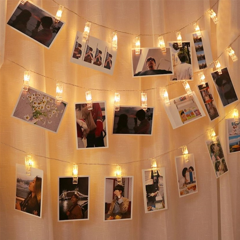 1.5M 20LED String Lights Photo Clip Battery Operated Garland Christmas Decorations for Home Holiday Party Wedding Fairy